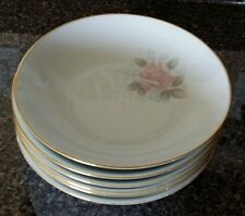 Noritake vintage 6 piece salad bowl set ivory w/ pink roses & gold accents 6238