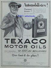 PUBLICITE TEXACO HUILE MOTOR OILS AUTOMOBILISTE AUTOMOBILE DE 1924 FRENCH AD PUB