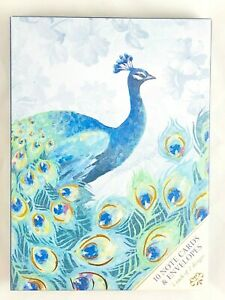PUNCH STUDIO NOTE CARD (THANK YOU) & (BLANK) CARD SET EMERALD PEACOCK