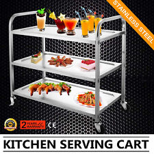 3 Shelf Utility Cart Kitchen Stainless Steel Serving Cart Workstation Utility