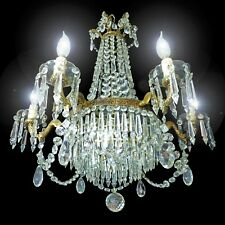 Huge 1940s French 12 Light Empire Style Wedding Cake Crystal & Bronze Chandelier