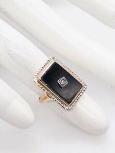 Antique 1940s RETRO 5ct Black Onyx Diamond 14k Yellow Gold EVERYDAY Ring
