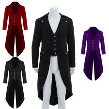 Mens Gothic Tailcoat Jacket Steampunk Trench Cosplay Costume Victorian Coat Suit