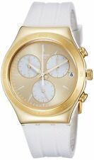 Swatch SOUKAINA Chronograph Gold Dial White Rubber Band Watch YCG415