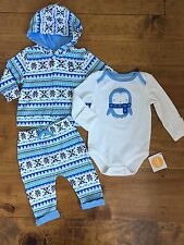 NWT Gymboree NEWBORN ESSENTIALS Baby Boy 3-6 Month Fair Isle Penguin 3 PC Outfit