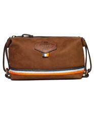 Superdry Men's Windsor Washbag In Tan, Genuine Leather Travel Toiletry Bag.