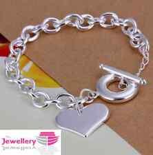 925 Sterling Silver Single Heart Charm Bracelet Jewellery Womens Ladies Gifts