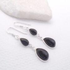 Onyx schwarz black Tropfen Design Ohrringe Ohrhänger 925 Sterling Silber neu