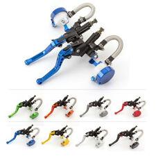 Universal Blue 22MM Master Cylinder Reservoir Hydraulic Brake Clutch Levers CNC