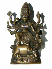 An Old fascinating brass Statue Deity DURGA with awesome Silver & copper Artwork