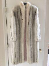 Vintage SAGA Real Arctic Fox Fur White Silver Full Length Long Coat-US Small