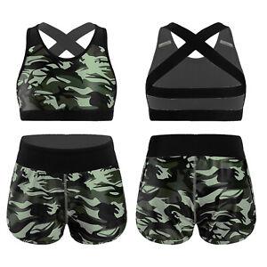 Girls Kids 2-Piece Dance Sport Outfit Crop Top+Shorts Leotard Gym Yoga Workout