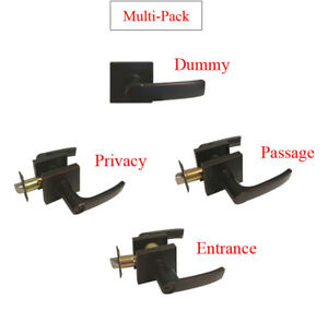 Oil Rubbed Bronze Door Handle Lever Square Base Knobs Privacy Key Locks Lock