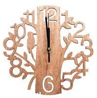 22cm Holz Wanduhr Analog Küchenuhr Baum Vögel Natur Vintage Uhr Wohzimmeruhr