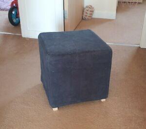 IKEA black fabric covered cube stool seat footstool