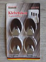 4 selbstklebende Haken Edelstahl oval Wandhaken Handtuchhalter Türhaken silber