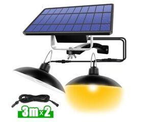 Double Single Head Solar Pendant Light Outdoor Indoor Lighting Home Garden Lamp