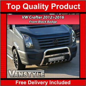 FOR VW CRAFTER GLOSS BLACK FRONT RADIATOR GRILLE BADGE 2012-2016 NOT CHROME TRIM
