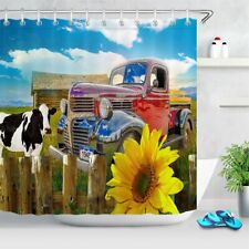 Sunflower Truck Cow Farm Animals Wood Fence Waterproof Fabric Shower Curtain 72""