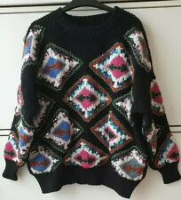 ZARA BLACK EMBROIDERED BEADED GEOMETRIC KNIT SWEATER JUMPER, SIZE S / UK 8 10 12