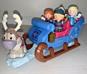 Fisher Price Disney Frozen Kristoff's Sleigh Little People 5 Figures Olaf Anna +