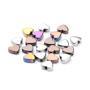 20pcs Non-Magnetic Hematite Stone Beads Heart Smooth Loose Spacers Beading 6x6mm