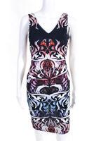 Artelier Nicole Miller Womens Sleeveless V Neck Mini Sheath Dress Blue White 4