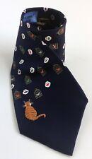 Blue Silk Neck Tie Fishbowl / Birdcage Cat Decisions Decisions by Alynn Neckwear