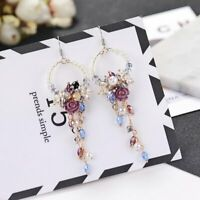 Gorgeous Women Crystal Flower Tassel Stud Dangle Drop Fringed Hook Earrings New