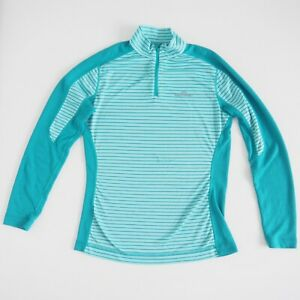KATHMANDU Womens Active Pullover Size 10 Long Sleeve Aqua Stripe Quarter Zip VGC