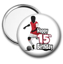 Football Silhouette Birthday Pocket Mirror Gift Boys Mens Dad Husband - ANY AGE