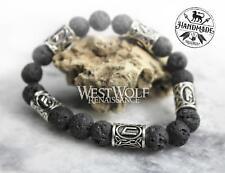Viking Rune Beads - Norse/Scandinavian Icelandic Black Lava Rock Bracelet with