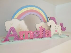 Girls Bedroom Sign, Unicorn Gift for Girls, Girls Name Plaque, Girls Room, Pink