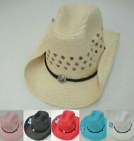 Colored Straw MESH Cowboy Hat Cowgirl Western Hat w/ Chin Strap