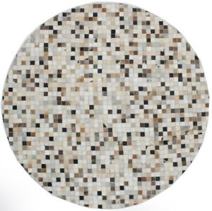Ivory Contemporary Handcrafted Cowhide Patchwork 6X6 Oriental Round Rug Carpet