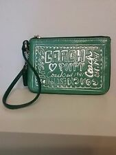 COACH POPPY STORY PATCH GLAM Wristlet Green W/Silver LEATHER TRIMS +BONUS!!