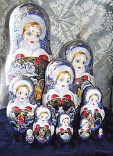 "Matryoshka 10 pieces,11,8"",Author Toichieva. Signature. Handmade."