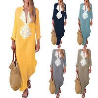 UK Womens V Neck Boho Floral Baggy Maxi Dress Long Sleeve Kaftan Loose Dresses