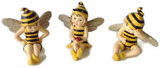 Bumble Fairies Boy Girl Bee Yellow Black With Wings 3 Assorted Resin Figurines