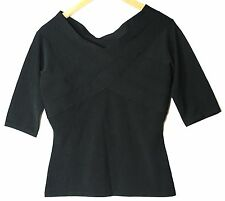 BLACK LADIES PARTY FORMAL BLOUSE TOP ALEX & CO SIZE SMALL UK 6-8 STRETCH