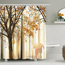 Dark Yellow Autumn  Waterproof Shower Curtain Art Print Bathroom Curtain Hook