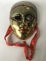 """Vintage Brass Decorative Mask Wall Decoration Made in India 5"""" Tall"""