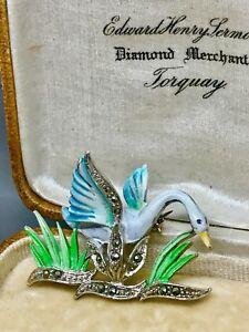 Vintage Enamel & Marcasite Swan Brooch