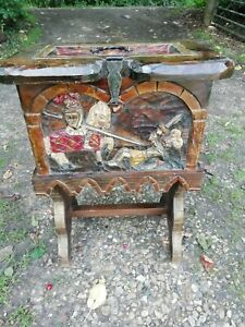 Vintage Carved Pine Painted Chest on Legs Knights Coat of Arms Storage Fireside
