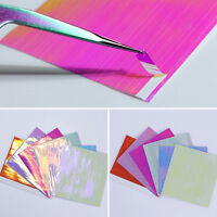 6Sheets Holographic Nail Foils Ultra Thin Laser Line 3D Stickers DIY Born Pretty