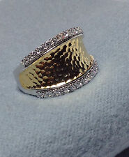 Joseph Esposito Sterling Silver -18 K Vermeil Hammered Ring - CZ Detailing Sides