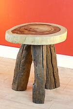 Table D'Appoint Bois Rond Exotique Vieux Chêne Massif Basse