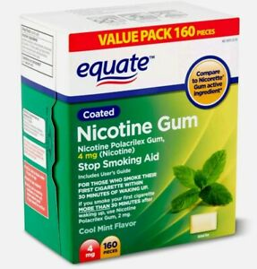 Equate Cool Mint Flavor Coated Nicotine Gum Value Pack, 4 mg, 160 count 2023
