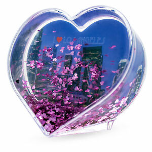 Los Angeles Heart Shaped Clear Acrylic Plastic Water Globe Picture Frame