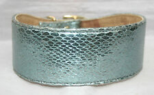 """Lined Leather Snakeskin Lge Lurcher Dog Collar holes fitted 16-18.5"""" BLUE SILVER"""